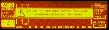 DEQ2496 display showing the AMBIENT SIGNAL TOO LOW message.