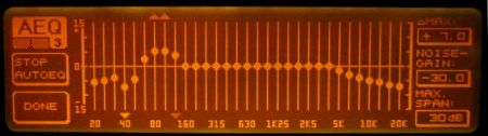 DEQ2496 display showing the bass frequencies being equalised.