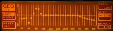DEQ2496 display showing the equalised bass frequencies.