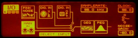 DEQ2496 display showing input menu page.