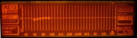 DEQ2496 display showing the 40-125 hz set, and other frequencies deselected.
