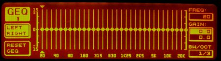 DEQ2496 display showing the target set to flat across the whole frequency response.