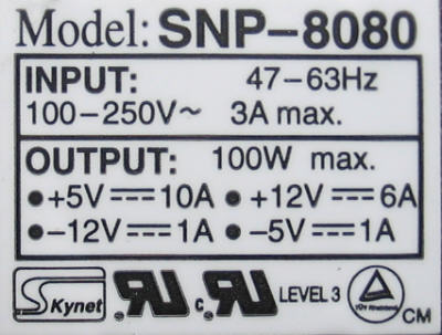 Skynet 8080 SMPS module label