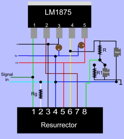 Resurrector connections for LM1875.