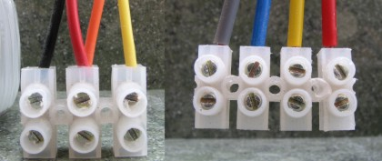 Secondary wires from transformers with twin secondaries showing how they are configured to supply a single bridge rectifier (left) or a pair of bridge rectifers (right).