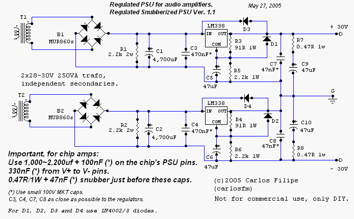 Building a Gainclone chip amp with snubberized PSU. on