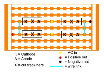 Layout of stripboard  bridge rectifier.