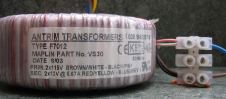 Transformer wired for 115 volt mains supply