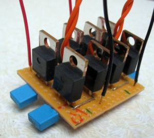 Two rectifier bridges built onto a piece of stripboard.